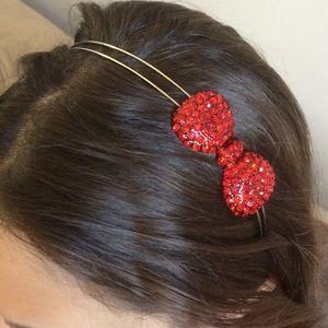 Red Crystal Bow Silver Tone Metal Headband